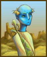Portrait of a Bald Blue Dude by Duckweed