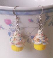 Yellow Cupcake Earrings by Cuddlebugeeshi