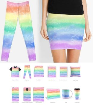 Pastel Rainbow Leggings, Skirts, and Accessories~ by Bon-Bon-Bunny