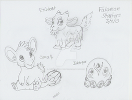 Fakemon Redesigned - Camulb, Embleat, and Inktopus by AnimeFan4Eternity23