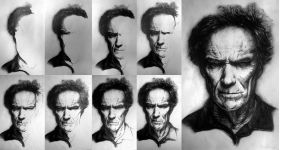 Clint Eastwood Portrait (Process) by whitneyw
