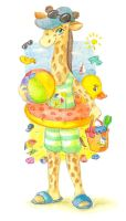 Giraffe on a seashore by jkBunny