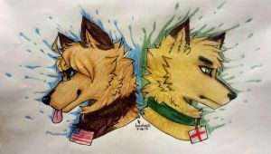 America and England (REDRAW) by LupusAurora