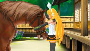 (MMD) Rin and Epona by nena-linda-pink