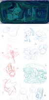Dynamic Digital Sketch Dump 1 by Piranhartist