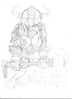 Little DWARF GIRL with big axe crayon by zzpoil
