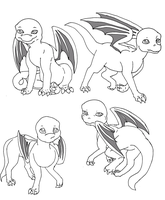 Base: Baby dragons by Midnightflaze