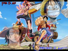 Luffy and Ace by Bloodygun