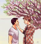 DeanCas and Peach Blossoms by zerda-vulpes