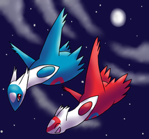 Latias and Latios by TheCheshireCatGrin