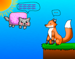 Stupid Fox meets Fuzzy Nyan Cat by Romeh96