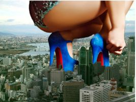 Giantess in the City by Tinyman91