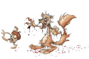 zombie squirrel by basakward