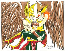 Hawkman Carrying Hawkgirl by WibbitGuy