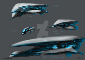Federation Fleet and Black Dove by AlphaAnime