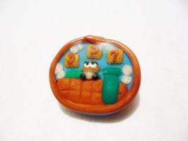 Polymer Clay Super Mario Pendant by Saru-Hime