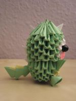 3D Origami - Kid in a Dinosaur Suit - 3 by Mixowelle