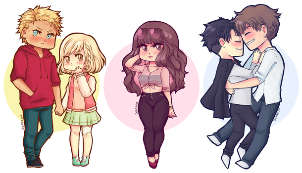 Chibi OCs (point comm sample) by deads-on