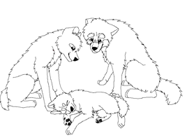 Dog family lineart by Tikris01
