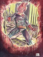 Human Torch_ watercolor_Canson Montval by eltondias