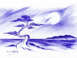 Bonsai Tree Seascape by Sultzaberger