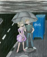 Bus Stop--Under The Umbrella by Poofiemus