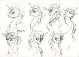 My Little Frozen: Elsa the Snow Alicorn (Sketches) by DragonaDeMetal