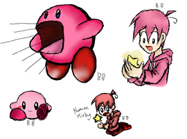 Kirby and Human Kirby by Doodlz18
