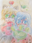 Kitty and Ladybug by Tomichu