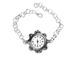 Woman Fashion Silver Quartz Watch Bracelet by crystaland