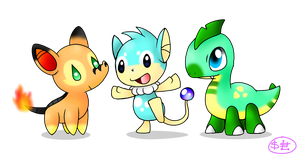 Fakemon starters by Spice5400