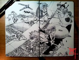 Moleskine doodle-Fly with friends by Radical1981