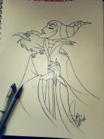 Maleficent- Sleeping Beauty (inked) by Lustuad