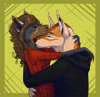 Neck kissing by Krawatorii