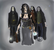 Bellatrix and Death Eaters by Basty007