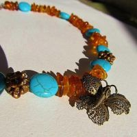 Amber Butterfly Beaded Necklace by SadiesAccessories