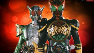 Kamen Rider OOO and W by YorkeMaster