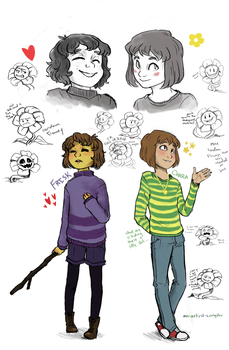 Frisk and Chara w/ multiple bonus flower-assholes by an-artist-complex