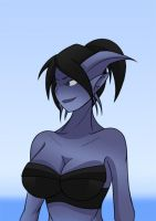 Draenei Girl at the Beach by Obhan