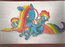 Fast hand made copy: Rainbow Dash Family by RiskyTheArt