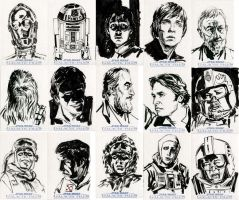 Star Wars Sketch Cards - Rebel Alliance II by clayrodery