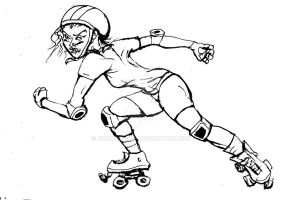Rampaging Rollergirl Sketch by rawjawbone