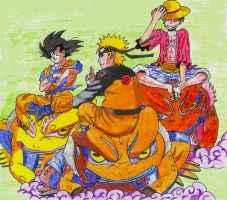 Naruto, Goku, Ruffy Wallpaper by UltimateFanManga