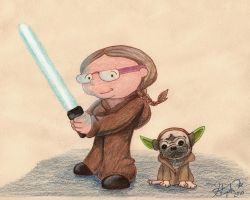 Jedi Mom and Yoda by Myrcury-Art