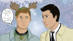 Supernatural Destiel Secret Santa Art by SouChanDevo