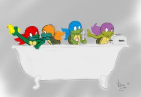 Baby TMNT Bath Time Sketch by vilsy