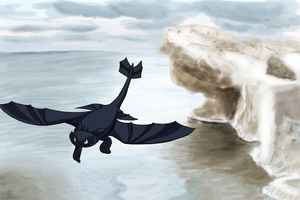 Toothless and the Crummy Cliff by SacredCandybar