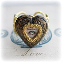Hand Painted Lovers Eye Locket Ring by asunder