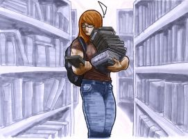 Caitlin at the Library by Fettcom