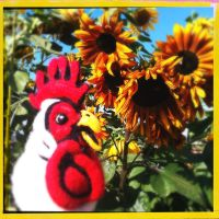 Felted Chicken at the Pumpkin Patch by AlwaysSuagarCoated